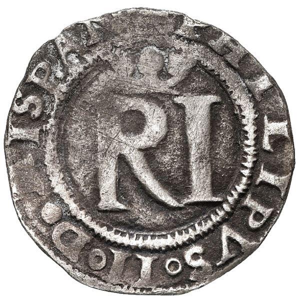 Lima, Peru, 1/2 real, Philip II, assayer R to left, legends HISPAN / IARVM ET INDIARVM.