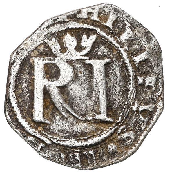 Lima, Peru, 1/2 real, Philip II, assayer R to left, legends ? / ? INDIARVM.