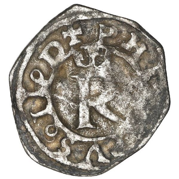 Lima, Peru, 1/4 real, Philip II, assayer R to left, legends PHILIPPVS o II o D / SPANIARVM . E, rare