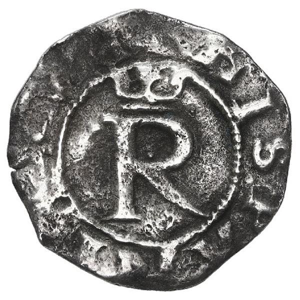 Lima, Peru, 1/4 real, Philip II, assayer R to left, legends HISPANIARVM / PHILIPVS II, rare.