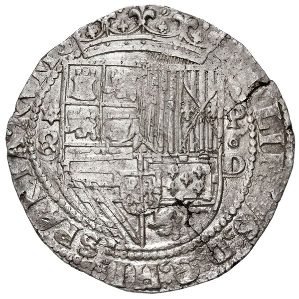 Lima, Peru, cob 8 reales, Philip II, assayer Diego de la Torre, *-8 to left, P-oD to right.