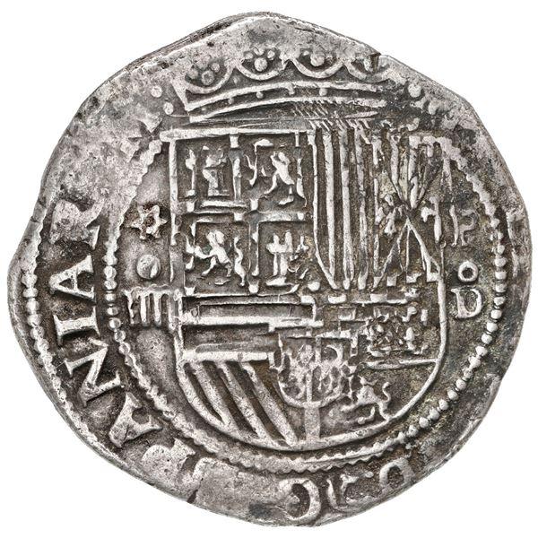 Lima, Peru, cob 4 reales, Philip II, assayer Diego de la Torre, *-oiiii to left, P-oD to right.