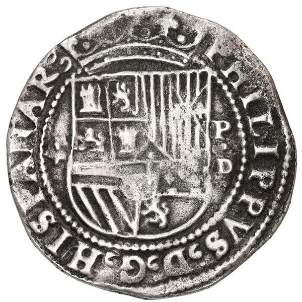 Lima, Peru, cob 4 reales, Philip II, assayer Diego de la Torre, *-4 to left, P-dot-D to right.