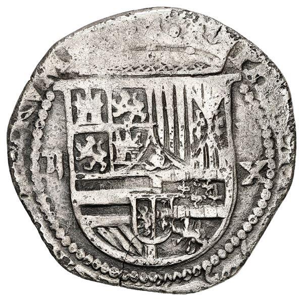 Lima, Peru, cob 2 reales, Philip II, assayer X below mintmark P to right, very rare.
