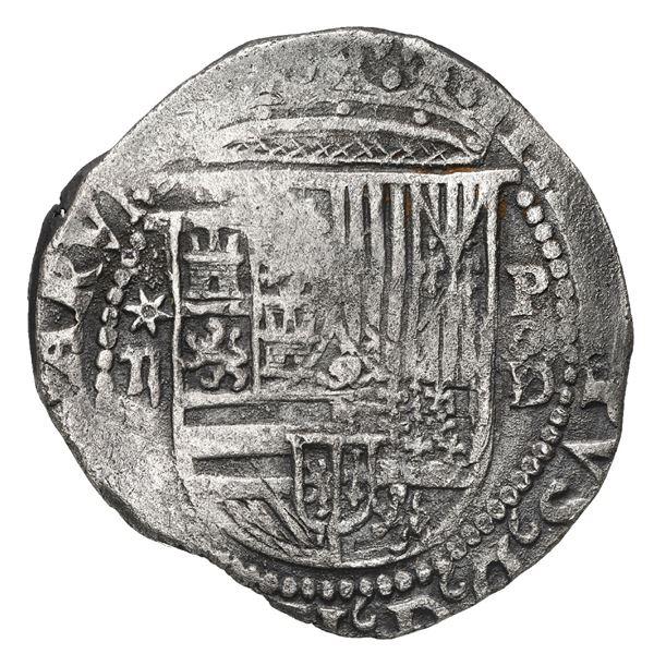 Lima, Peru, cob 2 reales, Philip II, assayer Diego de la Torre, *-ii to left, P-oD/X to right.