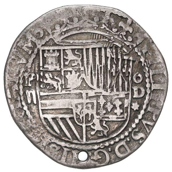 Lima, Peru, cob 2 reales, Philip II, assayer Diego de la Torre, *-ii to left, P-dot-D to right.