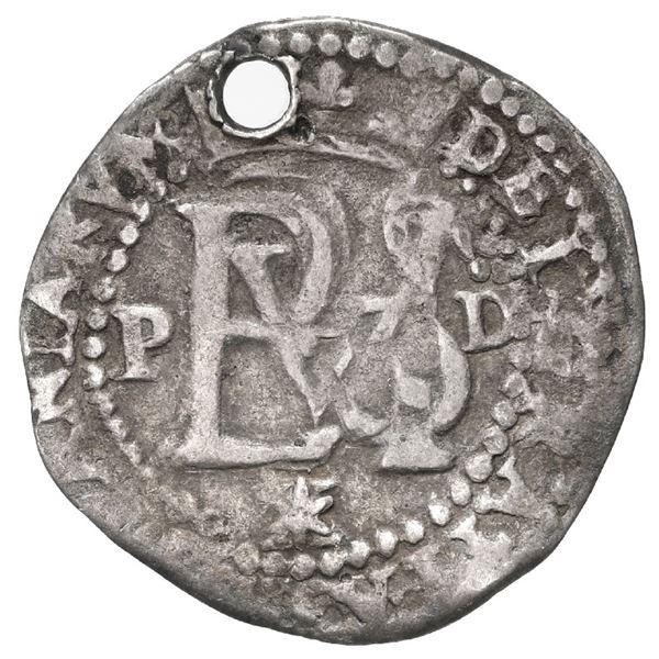 Lima, Peru, cob 1/2 real, Philip II, assayer Diego de la Torre, P to left, dot-D to right, */X below