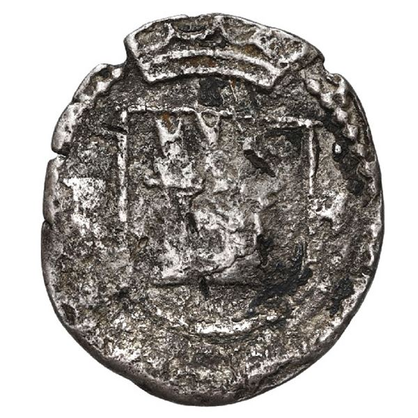 Lima, Peru, cob 1/4 real, Philip II, assayer Diego de la Torre, P to left and * to right of castle,