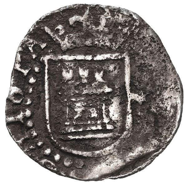 Lima, Peru, cob 1/4 real, Philip II, assayer Diego de la Torre, no mintmarks nor assayer.