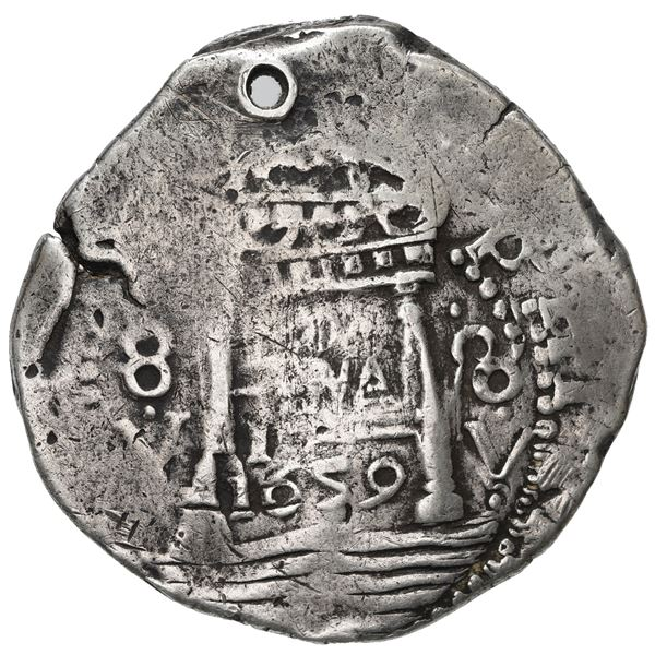 """Lima, Peru, cob 8 reales, 1659 V, """"Star of Lima"""" type, mintmark LIMA, 8-V to left and right (Series"""