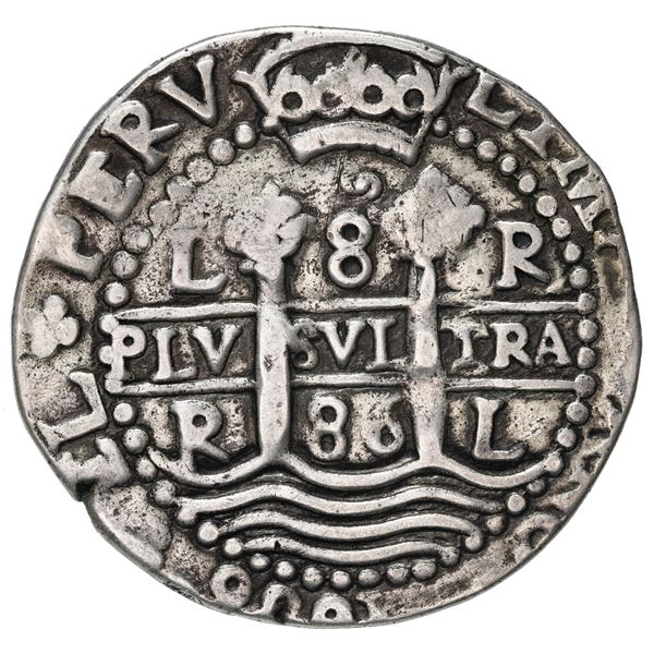 Lima, Peru, cob 8 reales Royal (galano), 1686 R, rare.