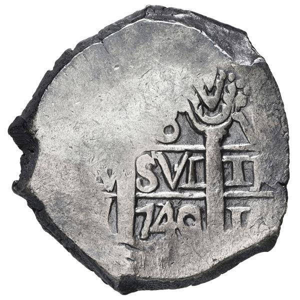 Lima, Peru, cob 8 reales, 1740/39 V, rare.