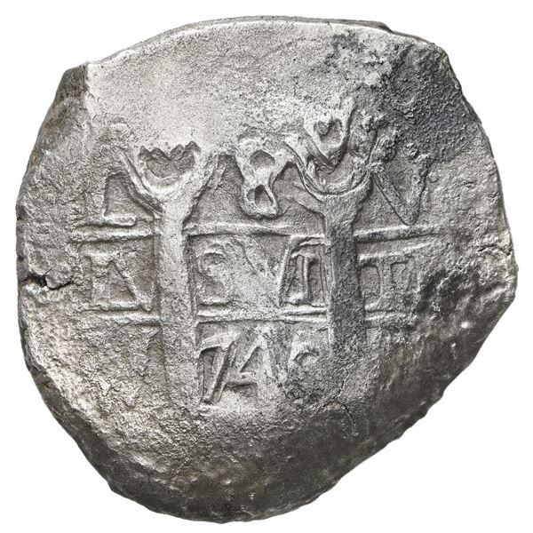 Lima, Peru, cob 8 reales, 1740(?) V.
