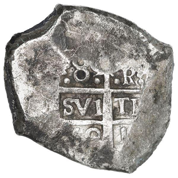 Lima, Peru, cob 8 reales, 1752 R, rare final year of Lima cobs.