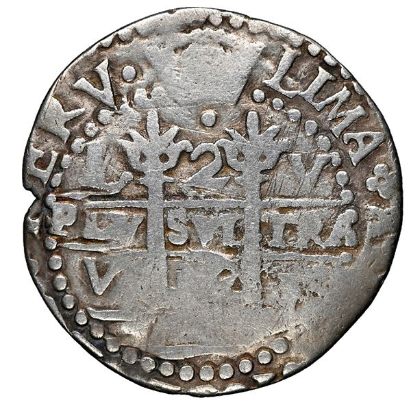 Lima, Peru, cob 2 reales Royal (galano), 1692 V, extremely rare, NGC Fine details / plugged.
