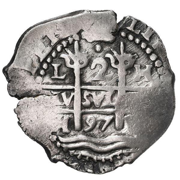 Lima, Peru, cob 2 reales, 1697 H.