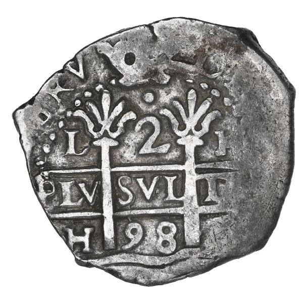 Lima, Peru, cob 2 reales, 1698 H.