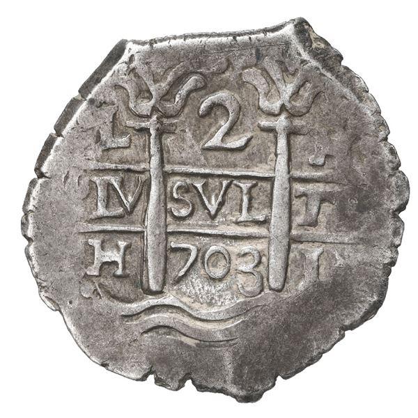 Lima, Peru, cob 2 reales, 1703 H.