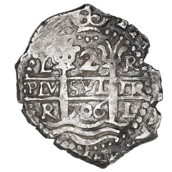 Lima, Peru, cob 2 reales, 1706 R.