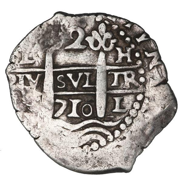 Lima, Peru, cob 2 reales, 1710 H.