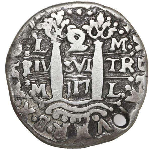 Lima, Peru, cob 2 reales Royal (galano), 1717 M, very rare, NGC holed, clipped.