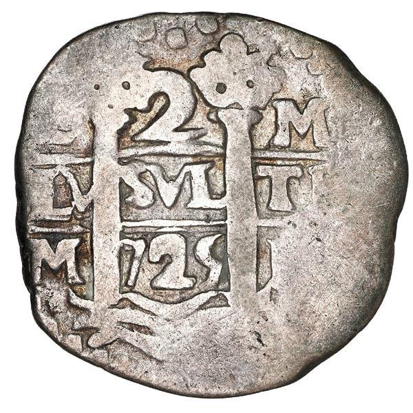 Lima, Peru, cob 2 reales, 1725 M, Louis I.
