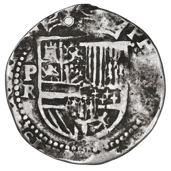 La Plata, Bolivia, cob 1 real, Philip II, assayer R (Rincon) below mintmark P to left, extremely rar