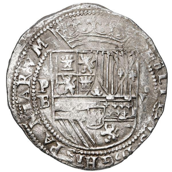 "Potosi, Bolivia, cob 8 reales, Philip II, assayer B (1st period), ""heavy"" lions, rare."