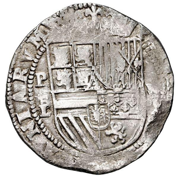Potosi, Bolivia, cob 8 reales, Philip II, assayer L below erased B (2nd period), rare.