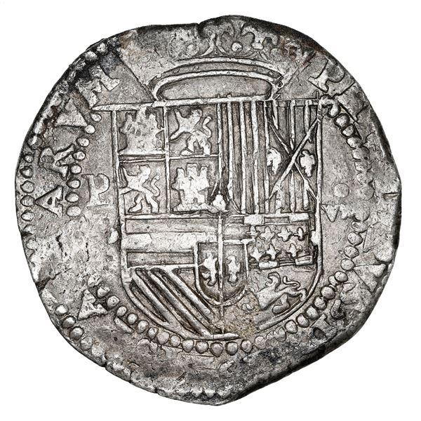 "Potosi, Bolivia, cob 8 reales, Philip II, assayer B (2nd period), NGC AU 55 (""top pop"")."