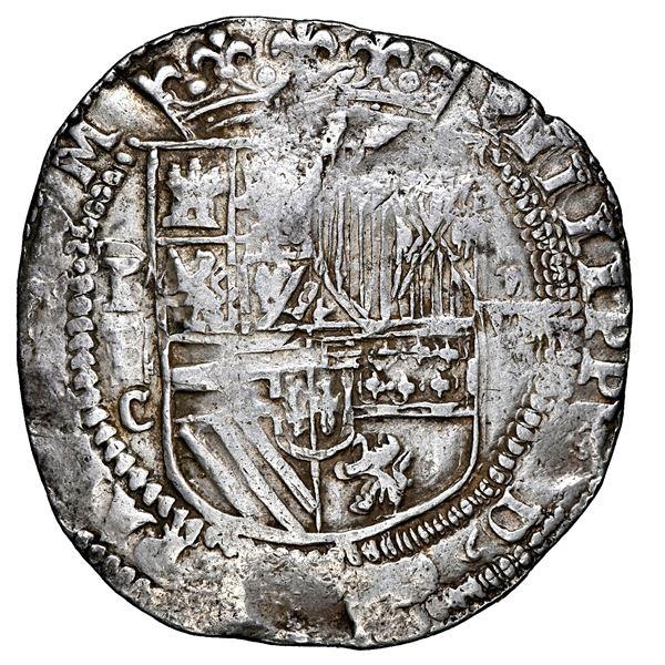 Potosi, Bolivia, cob 8 reales, Philip II, assayer C below erased B (2nd period), rare, NGC XF 45, fi