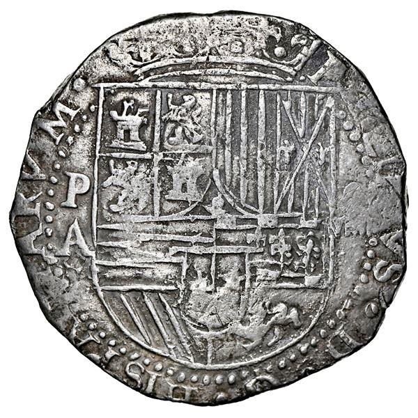 Potosi, Bolivia, cob 8 reales, Philip II, assayer A, error denomination oVIIII, NGC XF 40.