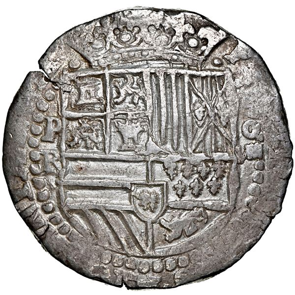 Potosi, Bolivia, cob 8 reales, Philip II, assayer RL, NGC AU 55, finest known in NGC census.