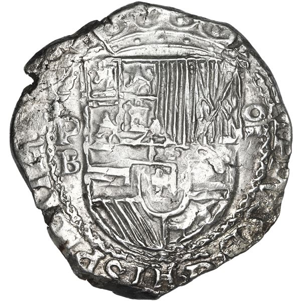 Potosi, Bolivia, cob 8 reales, Philip II, assayer B (5th period), borders of x's on both sides, NGC