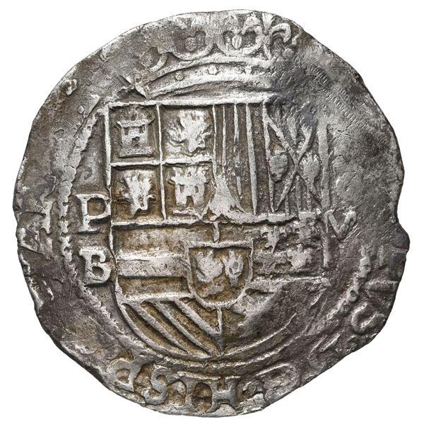 Potosi, Bolivia, cob 8 reales, Philip II, assayer B (5th period), borders of x's on both sides.