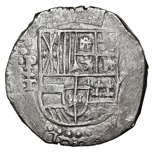 Potosi, Bolivia, cob 8 reales, 1618 T, upper half of shield and quadrants of cross transposed, NGC A
