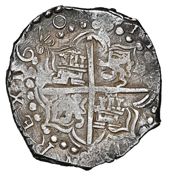 Potosi, Bolivia, cob 8 reales, 1620 T, q/P (retrograde P over P) for mintmark and king's name, NGC X