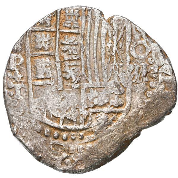 Potosi, Bolivia, cob 8 reales, 1621 T, quadrants of cross transposed.