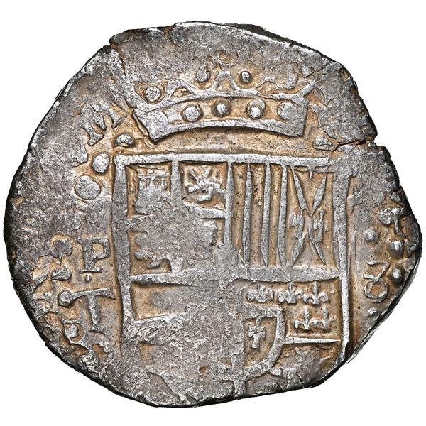 Potosi, Bolivia, cob 8 reales, 1629 T, denomination 8, heavy-dot borders, NGC AU 55.