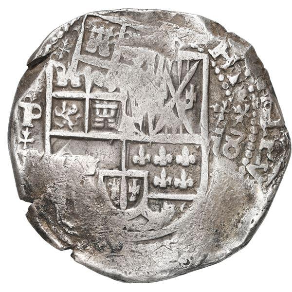 Potosi, Bolivia, cob 8 reales, 1631 T, fleury-cross ornaments.