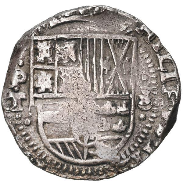Potosi, Bolivia, cob 8 reales, 1634 T, rare, first cob collected by Paoletti, ex-Burzio, ex-Martini,