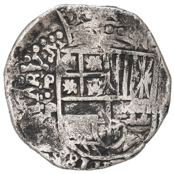 Potosi, Bolivia, cob 8 reales, Philip IV, assayer P (1646-47), very rare.