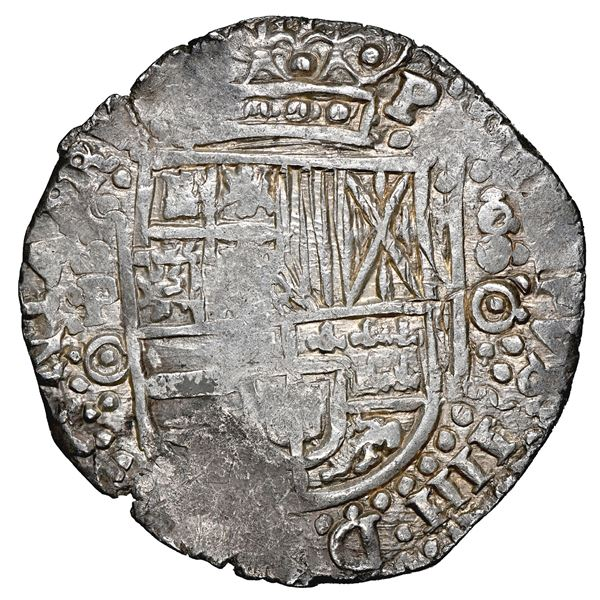 Potosi, Bolivia, cob 8 reales, 1650 O, no countermark (rare), NGC AU 58, finest and only example in