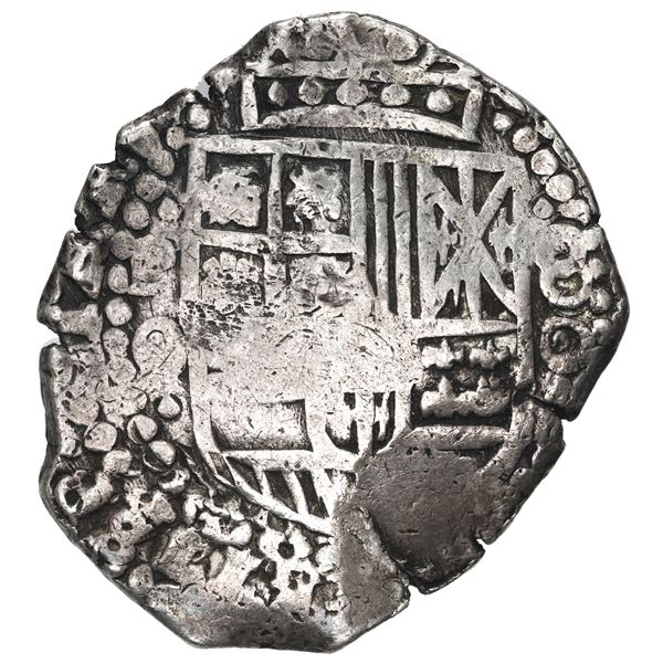 Potosi, Bolivia, cob 8 reales, (1650) O, with crowned-F (Mastalir Fa2-x) countermark on cross, rare.