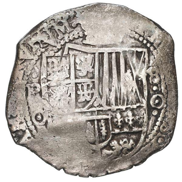 Potosi, Bolivia, cob 8 reales, 1650 O, with crowned-arms (Mastalir Asb) countermark on cross, rare.