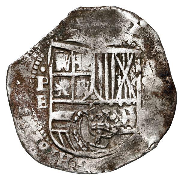 Potosi, Bolivia, cob 8 reales, 1651 E, crowned-L (Mastalir Lbb) countermark on shield.