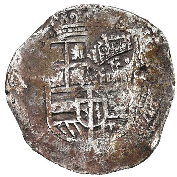 Potosi, Bolivia, cob 8 reales, (1651-2) E, crowned-F (Mastalir Fa1) countermark on shield.