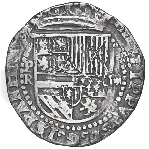 Potosi, Bolivia, cob 4 reales, Philip II, assayer R (Rincon) to left, NGC VF details / tooled.