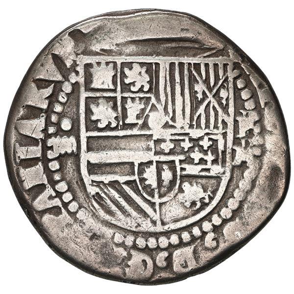 Potosi, Bolivia, cob 4 reales, Philip II, assayer M/R (small M) to right, very rare.
