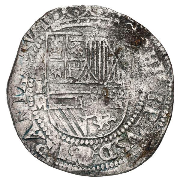 Potosi, Bolivia, cob 4 reales, Philip II, assayer M (large) to left, rare.